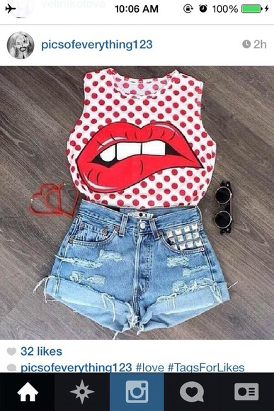 hot shirt red lips polka dots