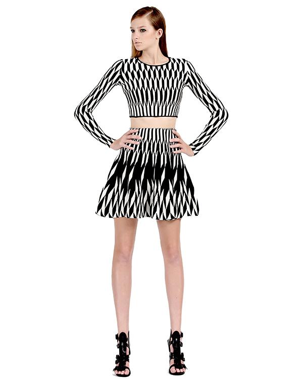 Arrow flat jacquard flare skirt