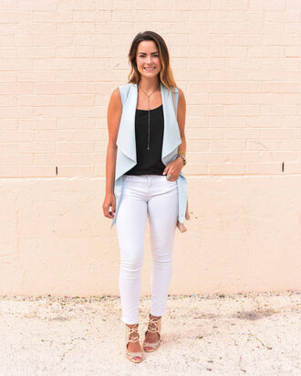 live more beautifully blogger tank top shoes jewels bag sleeveless black top statement necklace skinny jeans white jeans nude shoes nude heels lace up heels