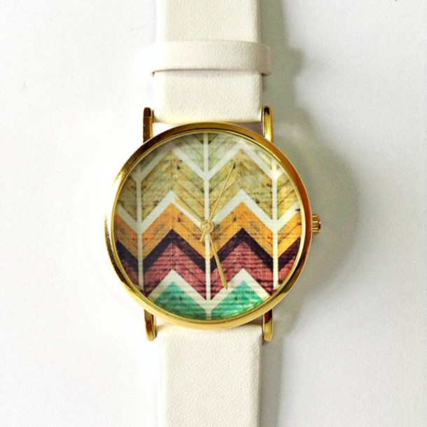 jewels chevron watch watch watch fashion style accessories leather watch wooden chevron stacked jewelry kitty watch vintage style