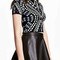 Black contrast geo tribal knitted crop top and pencil skirt