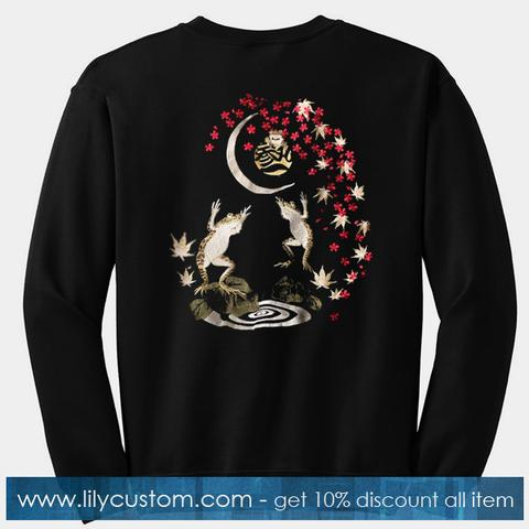 Frog Jump Cherry Blossom Sweatshirt Back