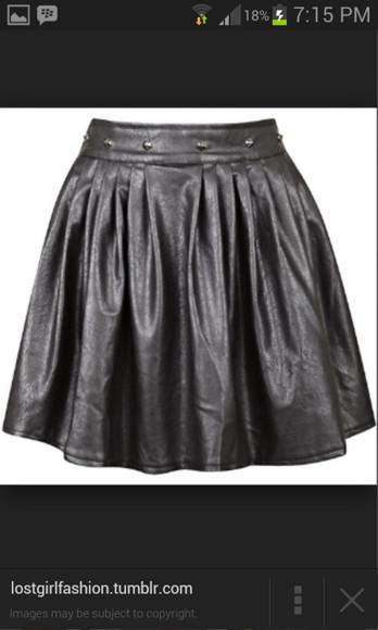 black skirt black skater skirt skater skirt leather skirt