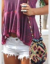 bag,t-shirt,jewels,shorts,ring,jewelry,boho chic,boho,bohemian,cross necklace,silver ring,shirt,pink and purple shirt,purle,blouse,tank top,top,short,summer,beach,boho jewelry,hippie,tie dye top,tobi,acid wash,pink,summer top,summer outfits,comfy,outfit idea,tumblr outfit,fashion toast,purple,tie dye