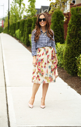 dress corilynn blogger gingham shirt floral skirt chiffon skirt