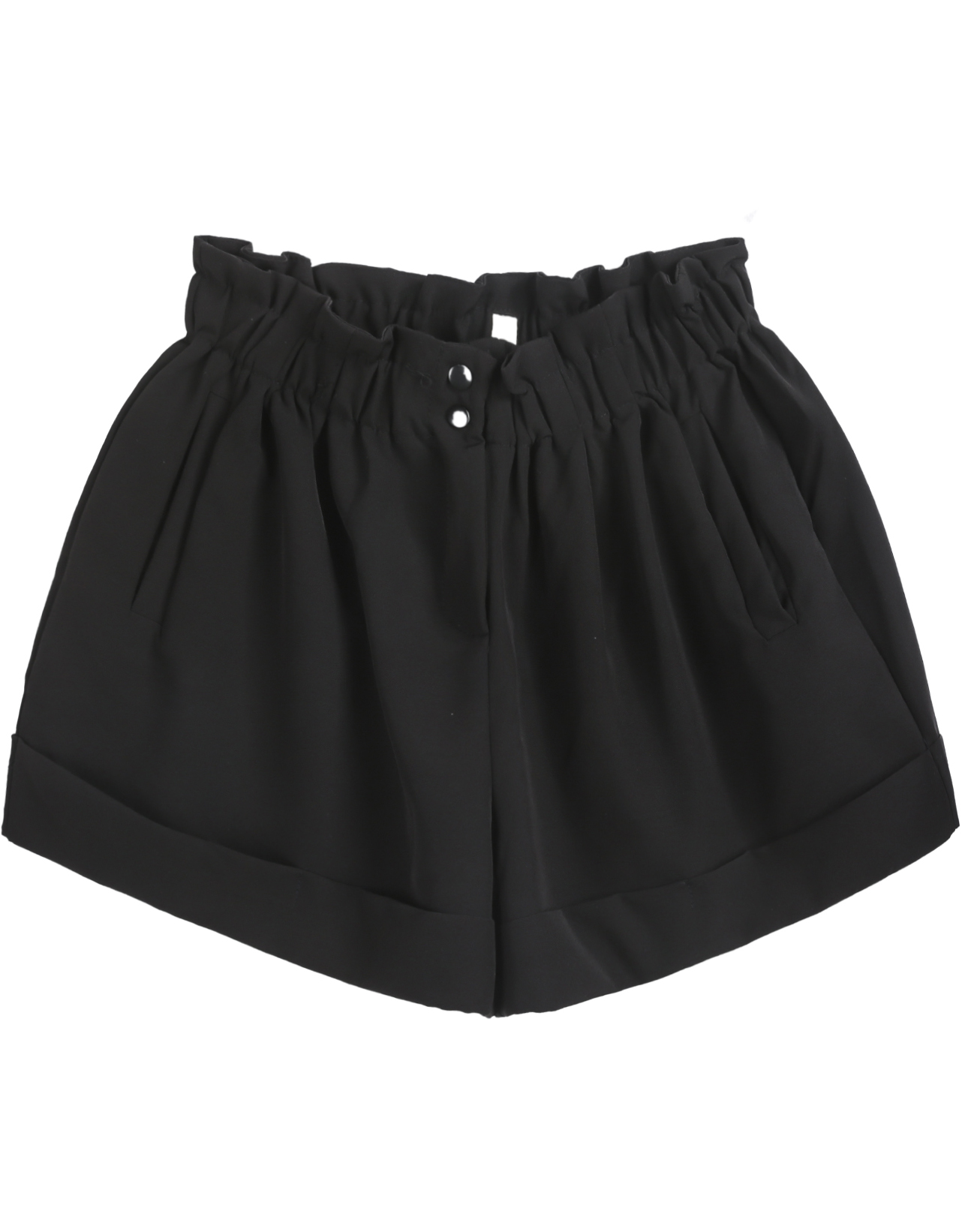 Black Elastic Waist Pockets Shorts - Sheinside.com