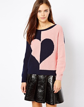 River Island | River Island 2 Side Heart Sweater at ASOS