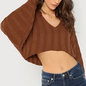 sweater,brown,girly,girl,girly wishlist,cropped,crop,cropped sweater,knitwear,knitted sweater,knit,v neck