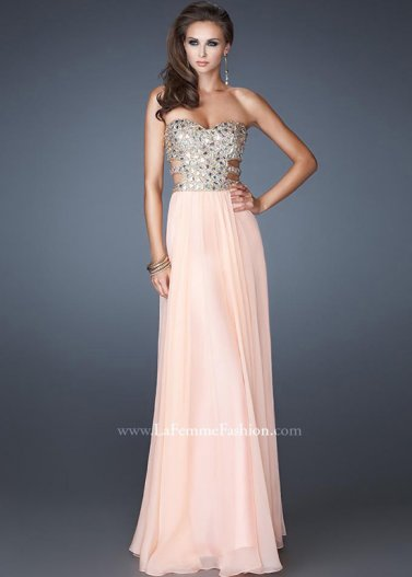 Apricot Strapless Long La Femme 18602 Beaded Top Chiffon Dress [La Femme 18602 Apricot] - $178.00 : Prom Dresses 2014 Sale, 70% off Dresses for Prom