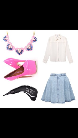 blouse denim skirt chiffon blouse jewels shoes pink button up blouse white blouse jean skirt pink high heels chunky necklace statement necklace cat eye eye makeup collar shirt collared shirts chiffon makeup eyeliner