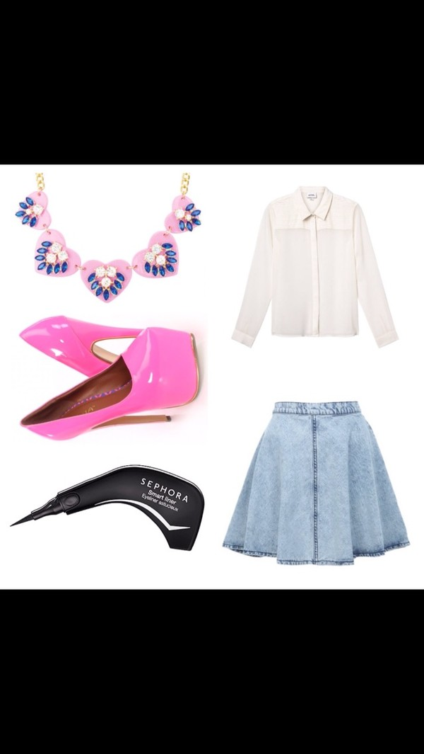 skirt jean skirt denim pink high heels pink chunky necklace statement necklace cat eye eye makeup white blouse chiffon blouse collar shirt collared shirts button up blouse blouse jewels shoes denim skirt chiffon eyeliner