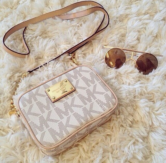 bag brown michael kors expensive taste cute glasses style sunglasses