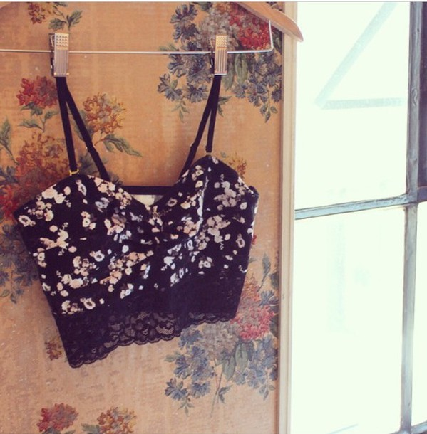 top floral bralette black crop top