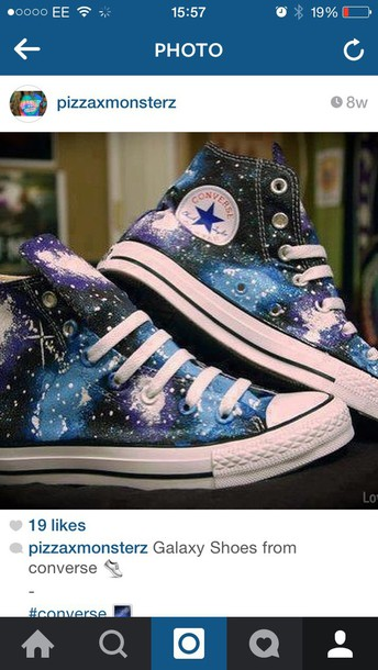 shoes galaxy print high top converse