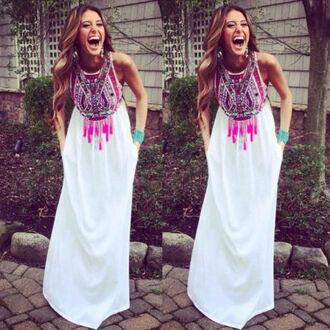 dress boho dress sundress summer dress beach dress long dress fashion white dress maxi dress skirt sexy dress