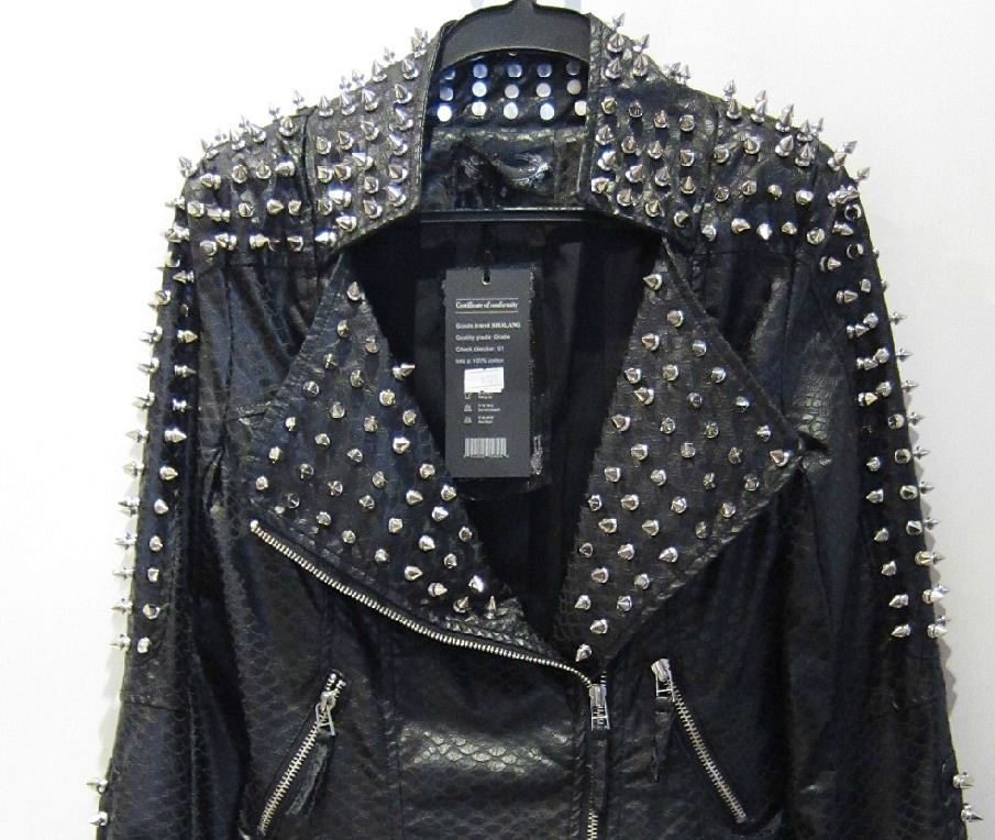 2013 Women zipper black glod Punk Strong Spike Rivet Studded Shoulder Snake Pattern PU Leather Jacket Coat autumn streetwear-in Leather & Suede from Apparel & Accessories on Aliexpress.com