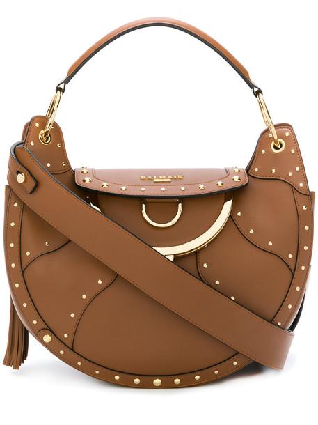 Balmain Vintage women moon bag shoulder bag leather brown