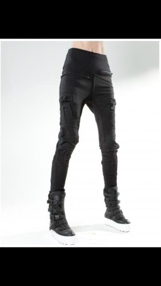 black leggings black badass cool leather unisex Black goth street goth
