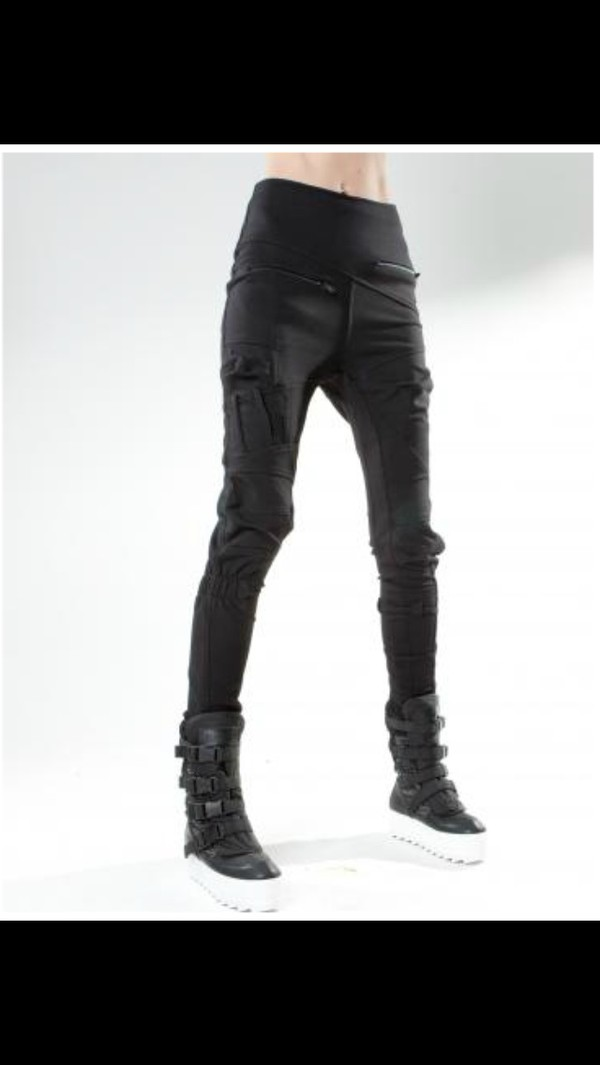 black badass cool leather black leggings goth street goth pants shoes