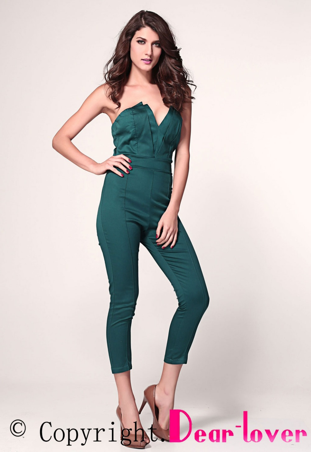 Women sexy Jumpsuit with Pleated Bust Origami Detail  LC6211 new 2014 spring lady casual jumpsuit-in Jumpsuits & Rompers from Apparel & Accessories on Aliexpress.com