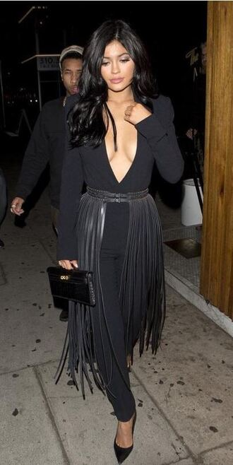 jumpsuit top all black everything fringes plunge v neck kylie jenner pumps pants belt clutch bag
