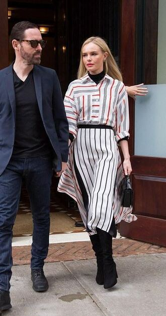 blouse shirt skirt fashion week boots kate bosworth stripes midi skirt