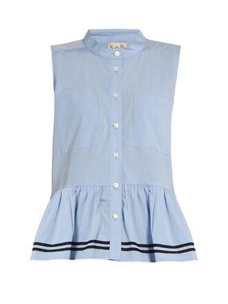 shirt sleeveless cotton light blue light blue top
