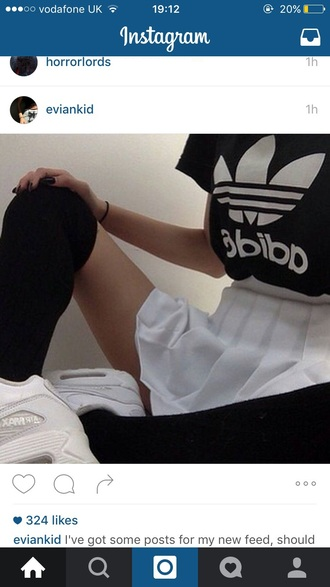 shirt black white adidas stockings tennis skirt grunge aesthetic aesthetic tumblr skirt