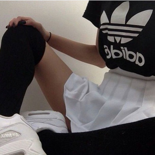 Shirt: black, white, adidas, stockings, tennis skirt ...