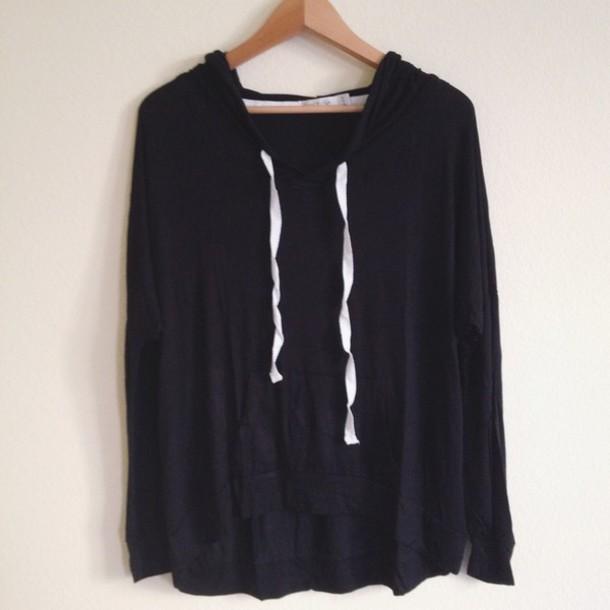 Sweater: flowy, hoodie, black - Wheretoget
