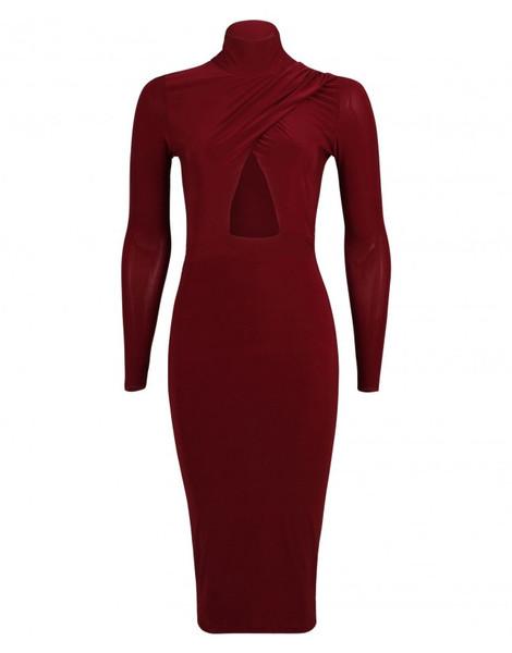 Ramona high neck slinky midi dress