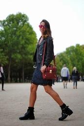 fashion vibe,dress,bag,jacket,sunglasses,shoes,biker jacket,black jacket,vue boutique,off the shoulder jacket,motorcycle jacket