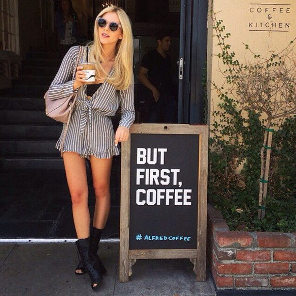 8a48c12ebddd jumpsuit underwear stripes romper ruffle deep front boho chic long sleeves  stripes coffee blogger hipster style