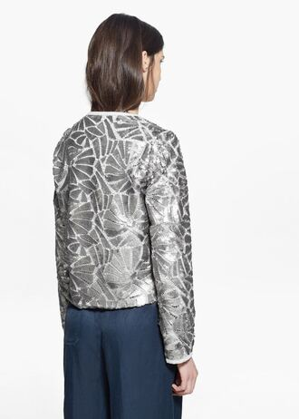 jacket embroidered embroidered jacket silver embellished jacket metallic shimmer shiny geometric sequin jacket mango party outfits birthday party winter jacket