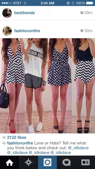 dress shorts chevron black white black and white cute preppy chic romper v neck short dress t-shirt chevron dresses