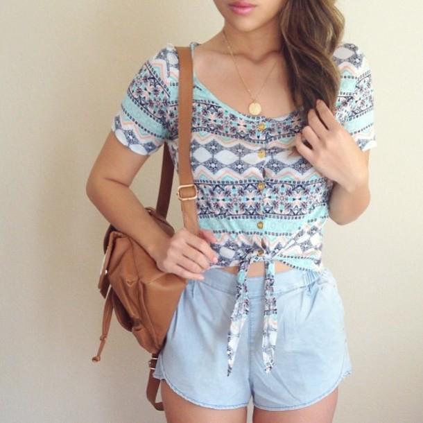 blouse short sleeve summer top crop tops shorts
