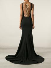 dress,roberto cavalli,black dress,evening dress,gown,backless dress,maxi dress