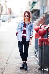 le happy,blogger,denim jacket,90s style,striped sweater,jacket,pants,sweater,shoes,sunglasses