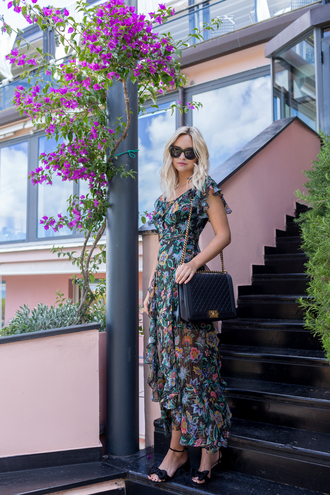 late afternoon blogger dress shoes bag sunglasses jewels tumblr maxi dress floral maxi dress floral floral dress sandals mid heel sandals