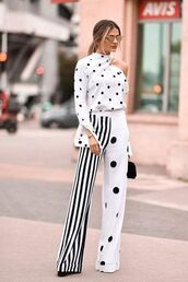 top,pants,wide-leg pants,strpes,polka dots,black and white,shoes,sunglasses