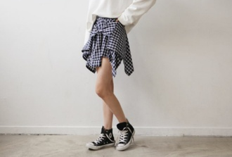skirt grid korean fashion iregular blouse
