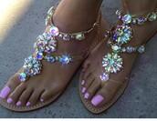 shoes,sandals,glitter,bling,summer,pink,strass,girly,flat sandals,rhinestone sandals,rhinestones