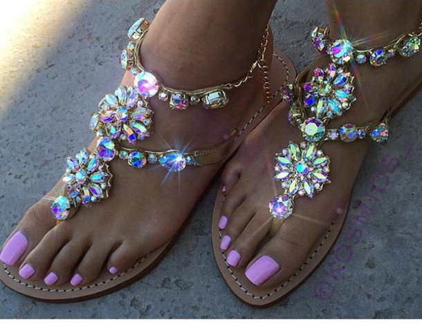1012b75e1f596 shoes sandals glitter bling summer pink strass girly flat sandals  rhinestone sandals rhinestones