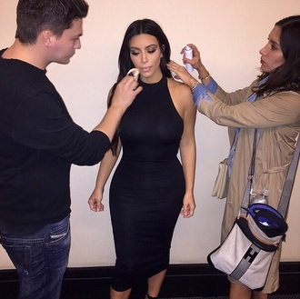 dress black dress summer dress black fitted dress round neck midi dress style kim kardashian dress