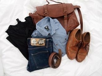 shirt leather brogues black top bag blue shirt jeans vintage shoes