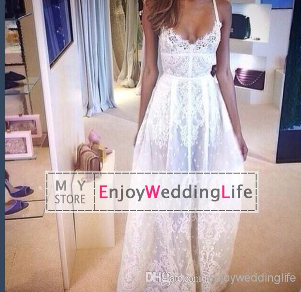 2014 Sexy New Sheer Spaghetti Straps Lace A A-Line Wedding Dresses | Buy Wholesale On Line Direct from China