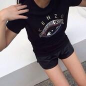 shirt,kenzo,black,t-shirt,cool shirts,teenagers,printed top