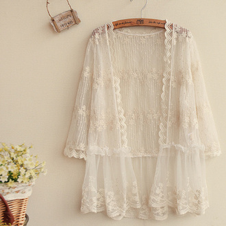 cardigan kimono lace white beach summer cute girly feminine fashion style romantic see through clothes