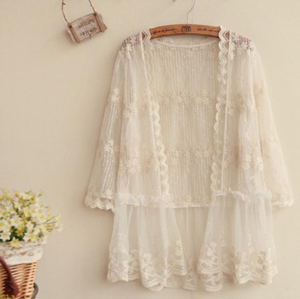 Cardigan Kimono Lace White Beach Summer Cute Girly Feminine Fashion Style Romantic