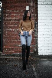 for all things lovely,blogger,sweater,bag,shoes,jewels,over the knee boots,fall outfits,winter outfits,brown sweater